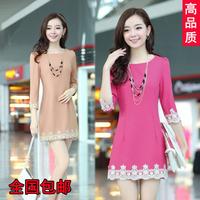 2014 summer women's plus size slim three quarter sleeve medium-long lace basic one-piece dress
