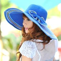2014 free shipping Hat female summer sun hat folding sunbonnet anti-uv beach cap large sunscreen