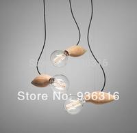 Free shipping 1pcs New arrival Modern brief wood pendant light bulb bar table decoration pendant light with E27 110V/220V bulb