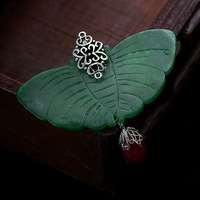 Vintage jade butterfly brooch quality gift female fashion corsage