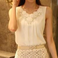 Women Blouse Spring New 2014 Summer Fashion Ladies Casual Sleeveless Chiffon Shirt Plus Size Clothing Blusas Femininas Blouses