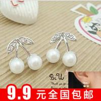 Min $10 sweet pearl silver little cherry stud earring girls earrings small accessories