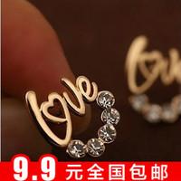 Min $10 bohemia gentlewomen glossy love letter love fashion love stud earring
