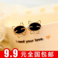 Min $10 Fashion earring stud earring black smiley cat rhinestone quality exquisite stud earring earrings female
