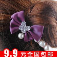 Fashion pearl pendant ribbon bow hairpin hair pin hair accessory hair accessory side-knotted clip accessories