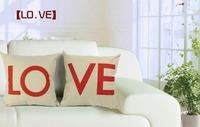 "2pieces/lot Love Series Cotton Linen Decorative Sofa Couch Chair Cushion Pillow Cover Pillowcase 18""x18"", lover"