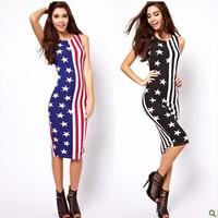 2014 Newest High Quality Fashion Sleeveless Dress American Flag Printed Brand Vest Dress Free Shipping H214