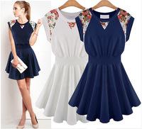New 2014 Summer Fashion Women's Dresses High Quality Round Neck Sleeveless Slim  Backing Dress For Women Free Shipping