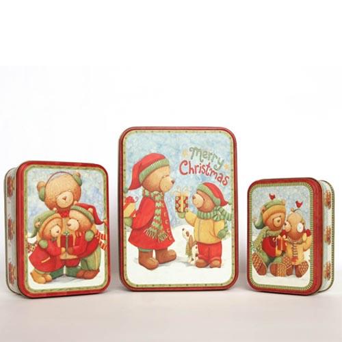 Free shipping Christmas iron case tin box three piece set Derlook bear set dearie ahtv international tin(China (Mainland))