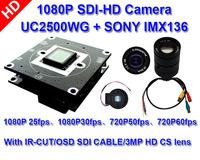 HI-SDI 1080P FULL HD UFINE 2500WG SONY IMX136 Board,Provide SDK /Document,With IR-CUT & OSD wire & 3MP HD lens,SDI 1080P CAMERA