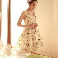Free Shipping 2014 new summer women fashion dresses women round neck sleeveless slim dress
