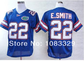 NCAA football jersey Florida Gators #22 Emmitt Smith Blue White jersey,embroidery logo,can mix order,free ship(China (Mainland))
