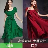 2014 women's slim medium-long chiffon one-piece dress irregular