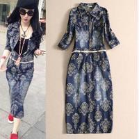 2014 new arrival spring print jeans dress three quarter sleeve high style fashion  denim long dress woman one-piece