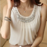 New 2014 Spring Women Blouse Ladies Casual Sleeveless Pleated White Chiffon Shirt Plus Size S-XXL Diamond Blouses Tops For women