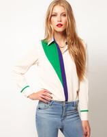 2014 New Fashion Womens Classic Chiffon Patchwork Blouse Quality Long Sleeve Elegant Casual T shirt Slim Tops Free Shipping