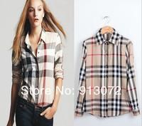 2014 New Arrival Womens Classic Basic Plaid Blouse Elegant Slim Casual Cozy Shirts Long Sleeve Brand Quality Tops Free Shipping