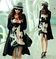 2014 Fashion Women Tops Punk Loose Skull Printed Long T-shirt Tees Dress Plus Size Black Free Shiping-H222