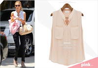 2014 New Fashion Ladies Sexy Deep V-neck Blouses With Pockets Stylish Shirts Casual Girl's Shirts Slim Tops Free Shipping