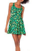 2014 Summer Hot Sale New Fashion Women's Pleated Maple Leaf Digital Print Galaxy Black Milk Skater Dress Free Shipping