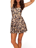 2014 Summer Hot Sale New Fashion Women's Pleated Busy Bee Digital Print Galaxy Black Milk Skater Dress Free Shipping