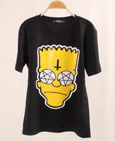 2014 New Arrival  Fashion Simpson Head Shirt Women Cartoon T-shirt Short Sleeve Yellow Simpson tops Free Shipping --H268