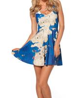 2014 Summer New Fashion High Quality Women's Digital Printed WESTEROS REVERSIBLE Galaxy Skater Dress Free Shipping