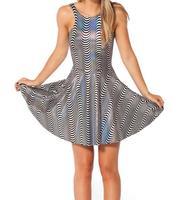 2014 Summer New Fashion High Quality Women's Digital Printed Dress WOO WOO REVERSIBLE Galaxy Skater Dress Free Shipping