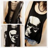 2014 New Arrive Women T shirts Skull Punk Singlet Dress Vintage Tank Pop Sexy Top Long Tee T-Shirt Free Shipping-H253