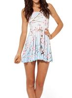 2014 Summer Hot Selling New Fashion Women's Pleated Cherry Print Galaxy Black Milk Skater Dress Free Shipping -K345