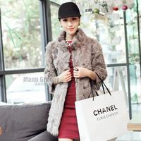 2014 berber fleece fur collar medium-long women's stand fur coat P
