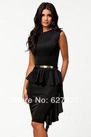 FREE SHIPPING!(10pieces)100% Brand New Women's Sexy lingerieBlack One-Side Draped Stylish Peplum Dress LC21158