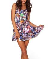 2014 Summer New Fashion Women's Pleated The Walking Dead Digital Print Galaxy Black Milk Skater Dress Big Free Shipping