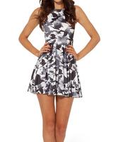 2014 Summer Hot Selling New Fashion Women's Pleated Flying Birds Print Galaxy Black Milk Skater Dress Free Shipping