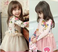 Hot Selling 2014 1 PCS Children Lolita Style Summer Clothing girls Soft Lace Princess dress  Cotton Free shipping