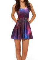 2014 Summer Hot Selling New Fashion Women's Pleated Galaxy Star Digital Print Black Milk Skater Dress Free Shipping