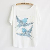 2014 Hot Sale! Fashion Cotton T shirt  Print Cartoon Swallow O-neck Short Batwing Sleeve Women Plus Size Tops Free Shipping