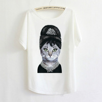 2014 Hot Retro Cool Punk T-shirt Women Top Fashion Tee Elegant Angel Audrey Hepburn Cat Batwing Sleeve T shirt Free Shipping