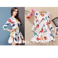 High Quality Factory Pricing Sale Bird Print Three Quarter long sleeve Brand  dress