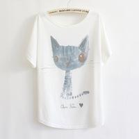 2014 Hot Sale Women's Casual T-shirt Short Batwing Sleeve Loose Big Size T Shirts Cartoon Blue Cat Print Tee Free Shipping -H280