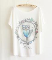 2014 New Women's Print T-shirt Lovely Little Owl High Quality Hot Big Size Cotton T Shirt Short Sleeve Tee Free Shipping -H279
