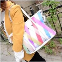 Free shipping 2014 summer beach bag transparent big bags rainbow bag jelly bag women's handbag shoulder bag bags  tote bag
