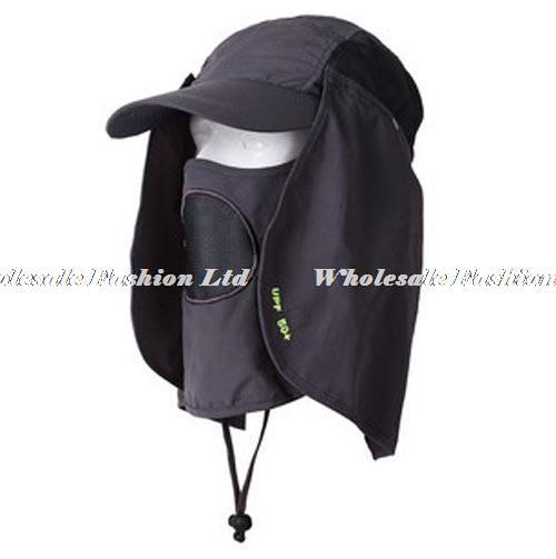 Wholesale Men UV Blocking Hats Neck Flaps Women Sunscreen Hunting Hat Ladies Sun Protective Headwear Hiking Cap Mens Camping Cap(China (Mainland))