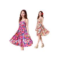 2014 summer one-piece dress beach dress bohemia suspender plus size floral print dress
