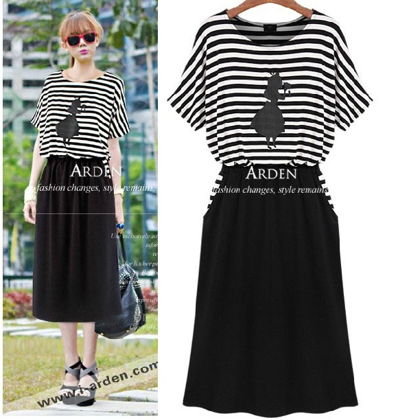 2014 spring and summer fashion stripe short-sleeve modal mm plus size clothing casual faux two piece set one-piece dress(China (Mainland))
