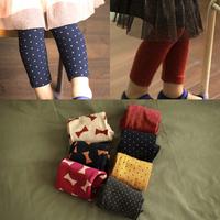 2014 spring polka dot bow girls clothing baby child long trousers legging kz-3780