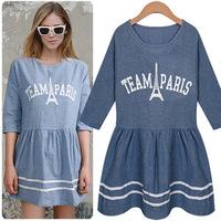 2014 new arrival woman summer half sleeve letter fashion dress all match women o nek casual one-piece  hot sale