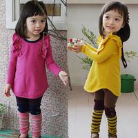 2014 spring solid color girls clothing baby child long-sleeve sweatshirt legging set tz-1206