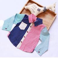 2014 spring color block plaid boys clothing baby boys long-sleeve shirt tx-3115