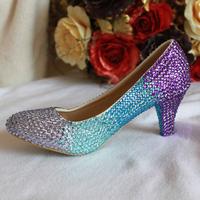 Blue purple gradient medium hells shoes pointed toe comfortable formal dress shoes party shoes bridal shoes bridesmaid shoes